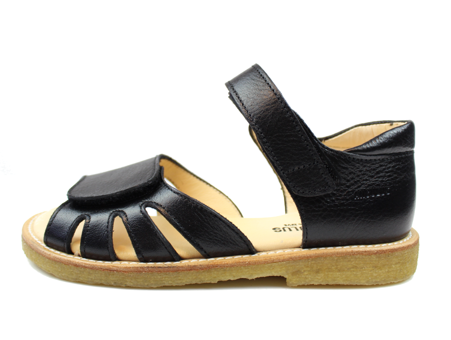 1087c9fda7b7 28-34  213c21e710c90 Angulus åben sandal sort med velcro 0515-101 Black str.