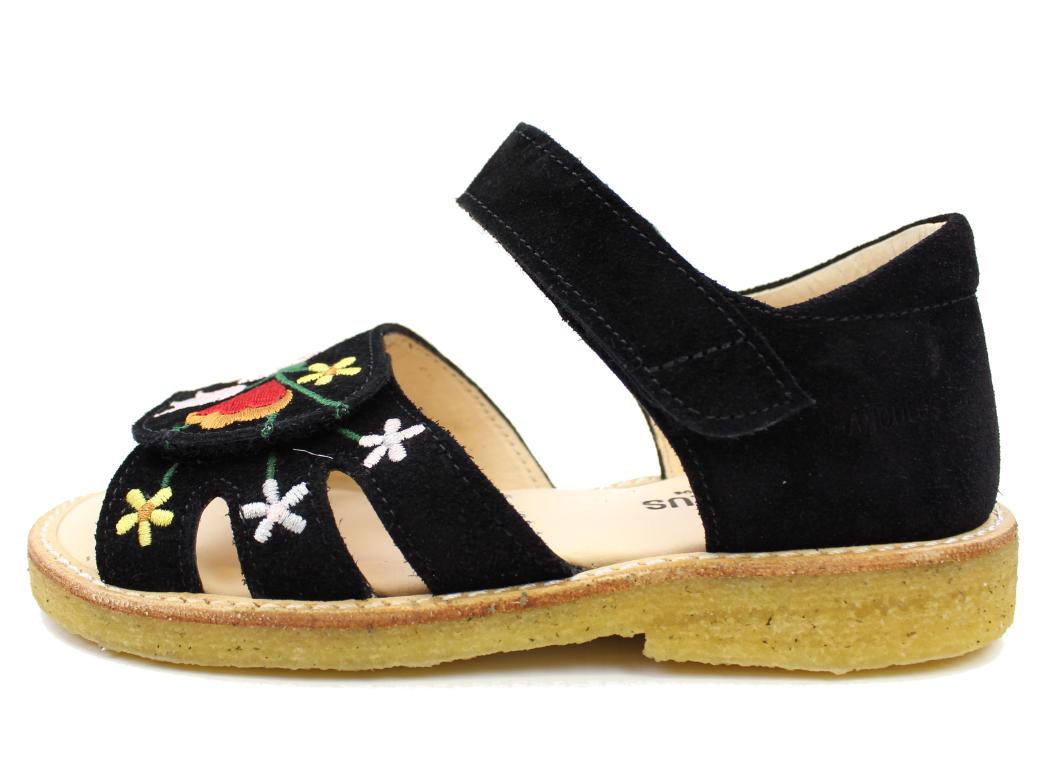 81c0cad51e8 Angulus smal åben sandal sort med blomst   0523-101   str. 28-33   TILBUD