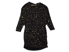 18-166 235-199-755 Vigdis dress Jet Black AOP Flakes Gold