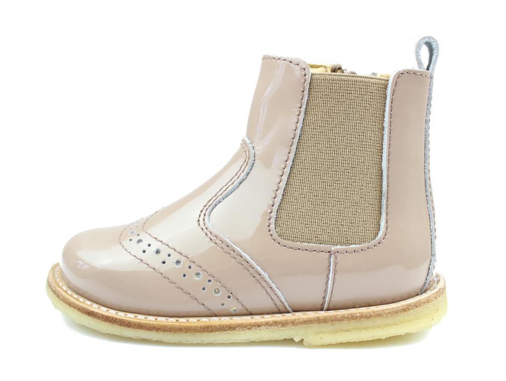 626fc9f1c76 Pom Pom støvlette nude/cappucino læder med lak og elastik og lynlås ...