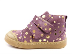 Pom Pom sneaker purple gold dot med velcro