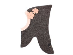 Huttelihut elefanthue brown med dusty rose blomster