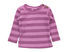 Joha strikbluse stripe purple uld