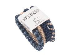 Kknekki hårelastikker dark blue gold mix (4-pack)
