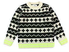 Mads Nørgaard sweater Keldino ecru/forest night/yellow