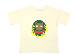 Mini Rodini t-shirt Cat badge offwhite