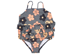 Mini Rodini flower swimsuit frill grey