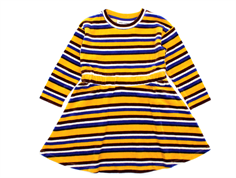 Mini Rodini kjole velour stripe yellow