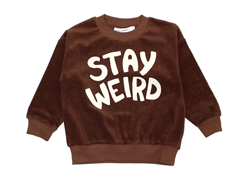 Mini Rodini sweatshirt Terry stay weird brown