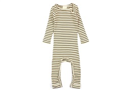 Petit Piao jumpsuit modal bottle green/beige striber