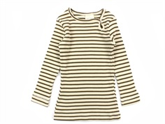 Petit Piao t-shirt modal bottle green/beige striber