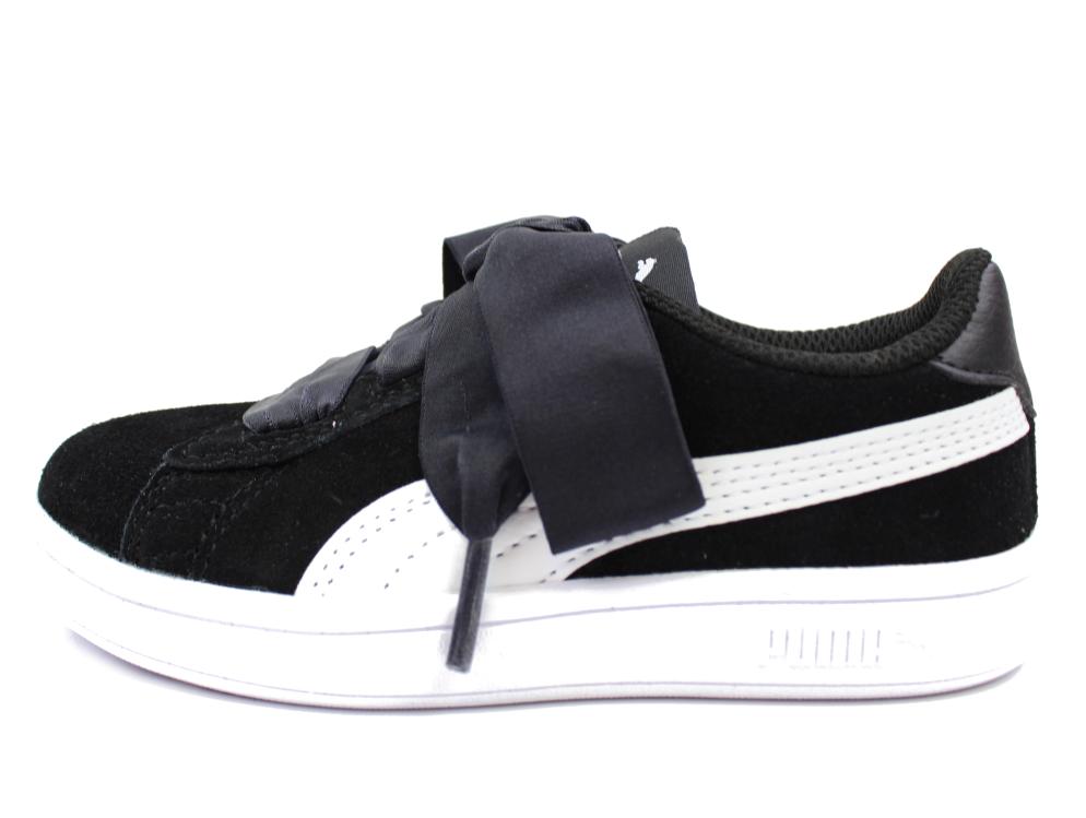 3275b434be5 Puma sneakers Smash sort med sløjfe   366005 01   str. 22-27   UDSALG
