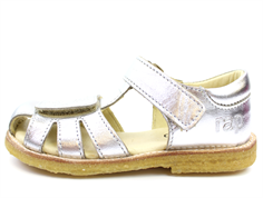 Arauto RAP sandal silver med blomsterbroderi (smal)