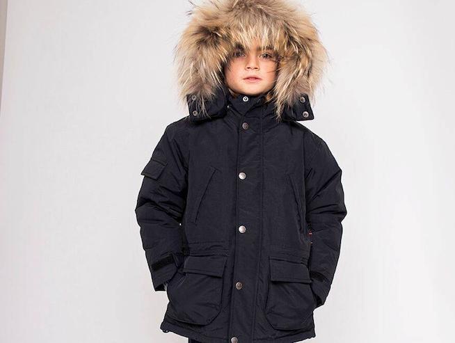 114457be Eskimojakke: Ver de Terre sort dunjakke med pels til drenge
