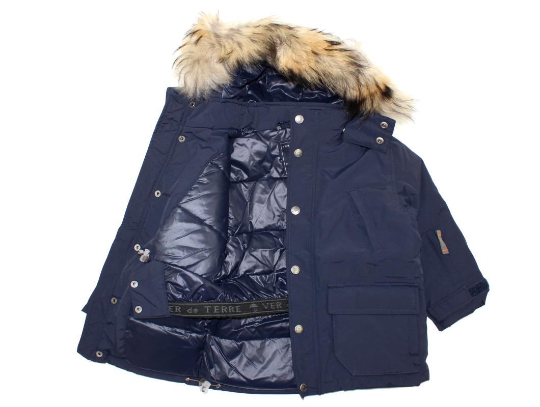 a57a1f4f Eskimojakke: Ver de Terre navy dunjakke med pels til drenge | 302 ...