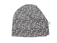 Wheat beanie hue greyblue med blomster