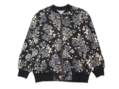 Wheat sweat cardigan Feline black flower