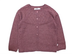 Wheat cardigan Olefine eggplant melange bomuld/uld