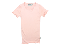 Wheat rib t-shirt soft rose lace