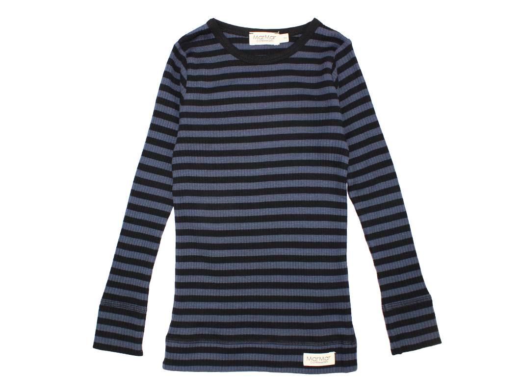 0c187f09 MarMar modal bluse blå med sorte striber | modal klassisk basis ...
