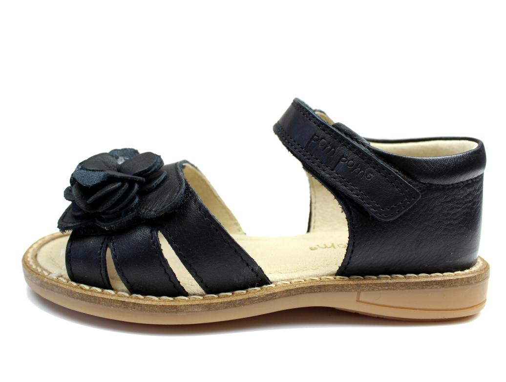 b395b8aa1e6 Pom Pom sandaler sort læder med blomst | 6010/04 Black | str. 28-32 ...